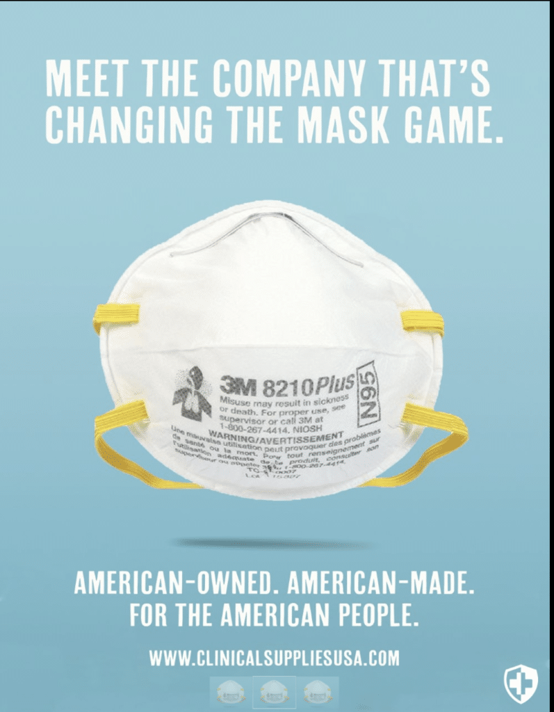 NIOSH-Certified N95 mask made in the USA.