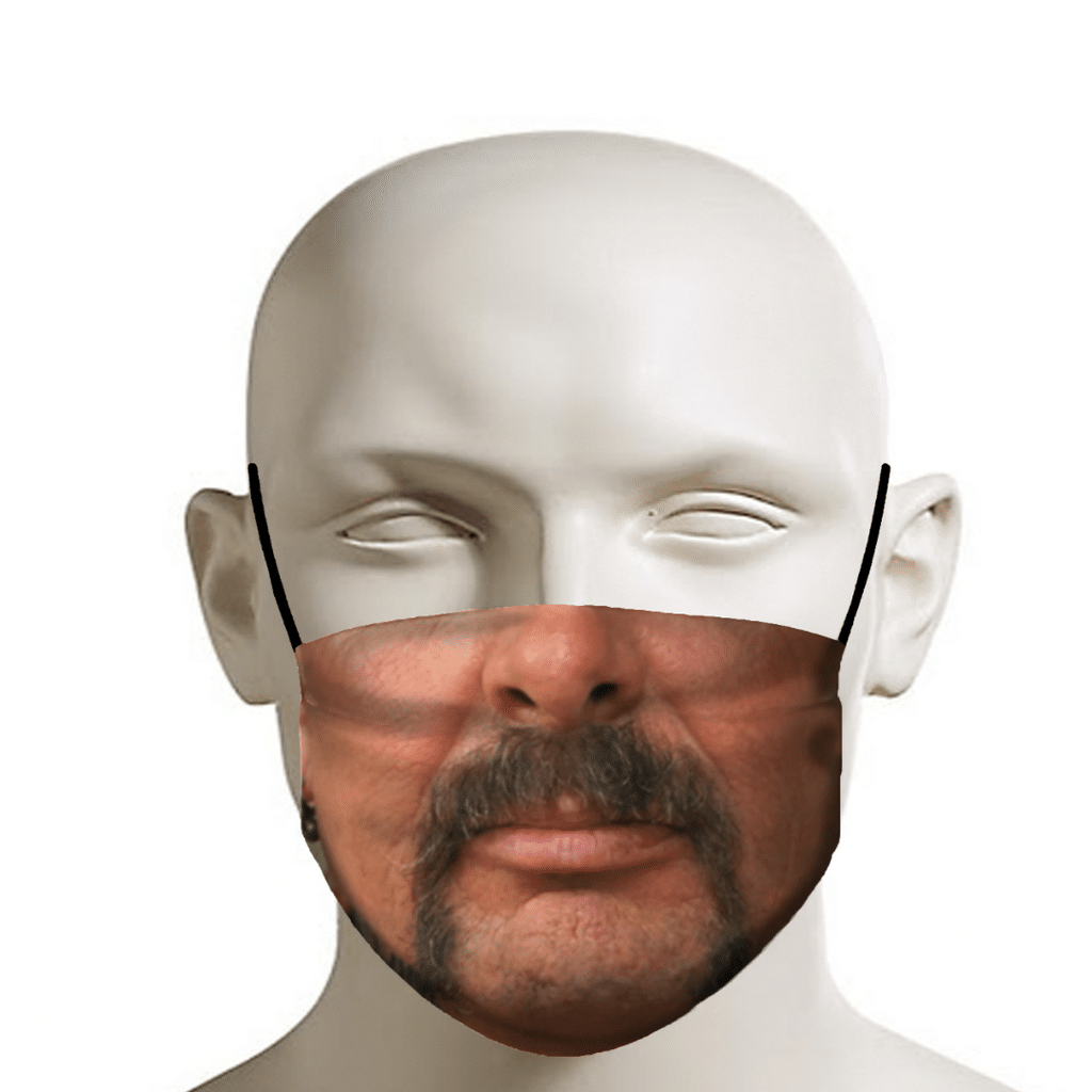 Joe Exotic cloth face mask featuring his famous mustache.