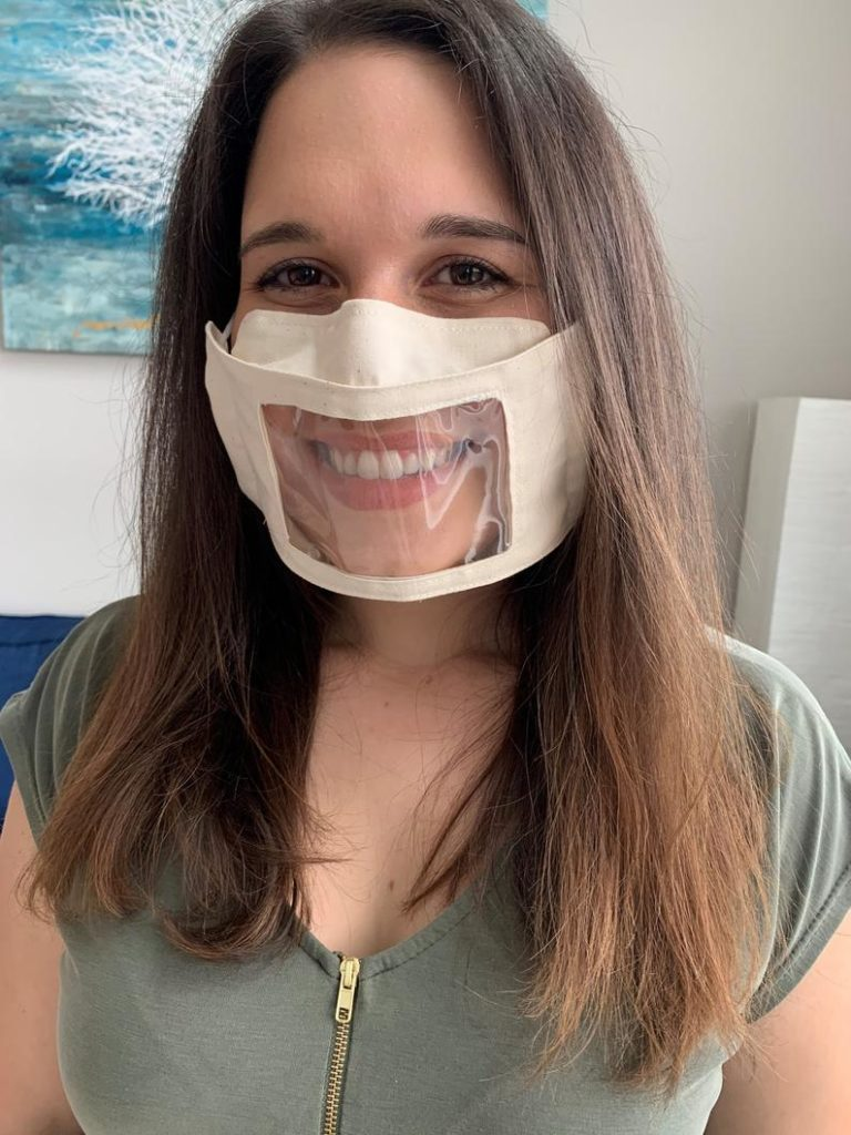 Show My Smile transparent face mask for hard of hearing people.